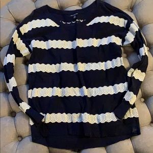 AEO Navy blue and white sweater lace detail XL